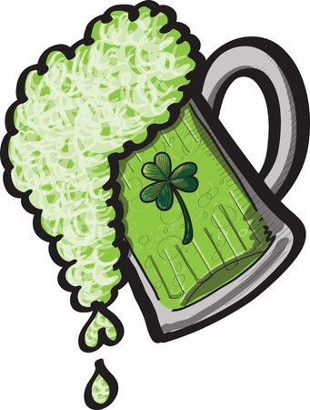 A pint of spilling green St Patrick s Day Beer Vector
