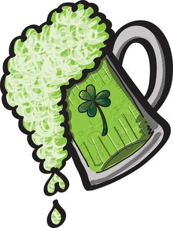 Una pinta de derramar verde St Patrick s cerveza del d�a Vectores