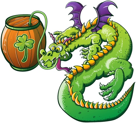 Winged Green Drunk Dragon drinking beer from a wooden barrel decorated with a Saint Patrick s Day Clover Illustration