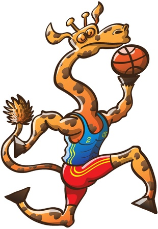 Proud long-necked giraffe playing basketball, jumping while holding the ball and going for a slam dunk