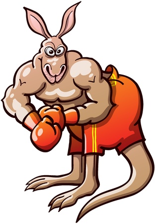 overhand: Brave and athletic kangaroo wearing red boxing gloves and short pants, posing and preparing to be ready to fight