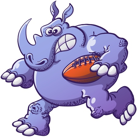 scaring: Strong, scaring and courageous rhinoceros running while holding an oval ball in a rugby match Illustration