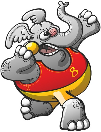 heavy metal: Brave and strong gray elephant, wearing a red tank and yellow shorts, making a big effort to throw the heavy metal ball in a shot put competition