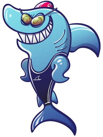 Terrifying and proud blue shark posing, smiling and wearing swimming goggles, swimsuit and swim cap