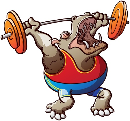 Brave and courageous brown hippopotamus, wearing a blue tank and red shorts, making a big effort to lift the weight plates in a weightlifting competition Stock Vector - 20243532