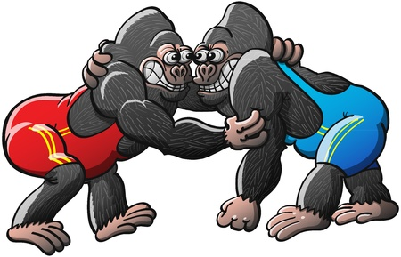 grappling: A couple of brave muscled African mountain gorillas, wearing blue and red wrestling suits, fighting and competing for a gold medal in a wrestling championship