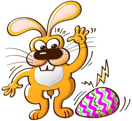 surprisingly: Nice yellow bunny surprisingly noticing how his Easter egg, he has just painted, begins to break Illustration