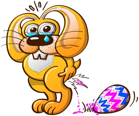 laying egg: Suffering yellow Easter Bunny crying tears while laying big, beautiful and colorful Easter eggs Illustration