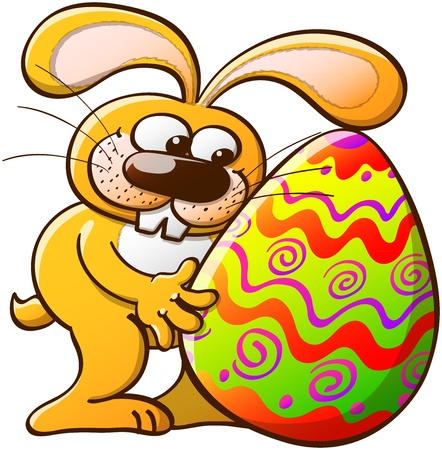 tenderly: Easter Bunny tenderly looking at his big and beautiful Easter egg