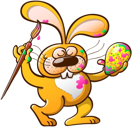 Messy an talented yellow Easter rabbit getting paint on his body while having fun decorating an Easter egg Vector