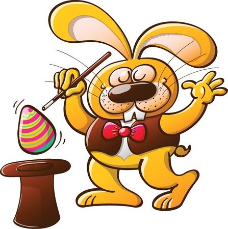 Conejo de Pascua haciendo trucos de magia mientras que hace aparecer un hermoso huevo decorado de su sombrero de mago