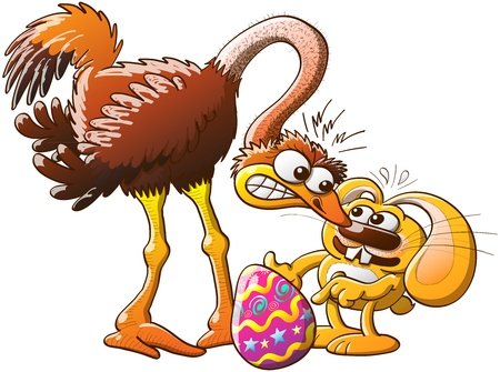 Distressed and nervous bunny having trouble when facing an angry ostrich and trying to explain why he stole and decorated the enormous ostrich s egg Stock Vector - 20244085