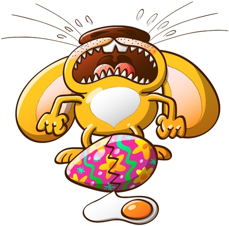 broken eggs: Distressed little bunny crying desperately after noticing that his beautifully decorated Easter egg has suddenly got broken