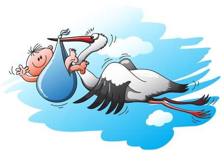 Tired and surprised stork flying and holding a newborn baby in a blue bag  The little boy is staring at you while greeting with a big smile Imagens - 21454216
