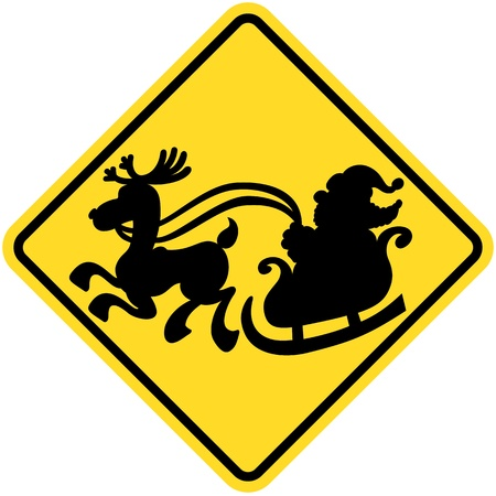 Yellow traffic sign making drivers aware of the danger of crossing Santa Claus by showing a silhouette of Santa in his sleigh while being pulled by one of his reindeer Illustration