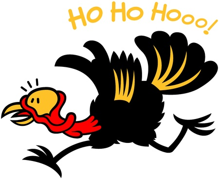 Black turkey completely frightened and feeling in big trouble  In hurry to leave, to run away after having heard Santa Claus laughing Illustration