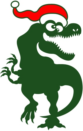 harmless: Big and joyful green Tyrannosaurus Rex smiling graciously and dancing rhythmically to celebrate Christmas Illustration