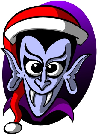 sharpen: Pale Dracula, baggy-eyed, looking silly and showing his sharpen fangs while poses wearing a Christmas hat in a comic frightening attitude Illustration