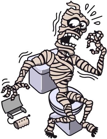 Mumia siedzi na WC eksperymentowanie wielką rozpacz i kłopotów, gdy odkrywa, że nie ma papieru toaletowego i jedyną opcją będzie z własnych cennych bandaże