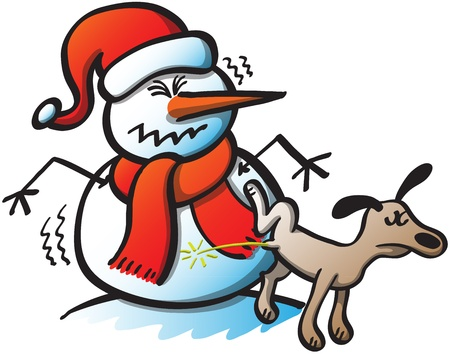 pee: Rude dog rising his leg and urinating on a poor and defenseless Christmas snowman, who can not hide his surprise and disgust at the audacity of the animal