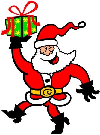 Smiling Santa Claus walking animatedly while holding a beautifully decorated Christmas gift Illustration