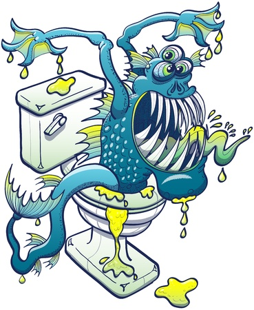 domestic bathroom: Scary aquatic blue monster coming out from plumber, dripping dirty water, showing his sharp teeth and sticking out his tongue while appearing trough the toilet in a threatening and aggressive mode
