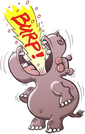 Hipop�tamo Plump alza la cabeza, abrir la boca ampliamente y hacer su mejor esfuerzo para eructar muy fuerte Vectores