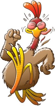 pollo caricatura: Pollo grande y bonito que hace su mejor esfuerzo para correr muy r�pido y escapar de un peligro desconocido, mientras que cerrando el pu�o, cerrando los ojos con fuerza y ??sacando la lengua