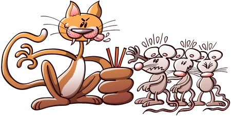 cat s: Crazy and evil cat forcing three poor mice to choose the short straw while they suffer the agony of uncertainty  Which of them will be the next cat s victim