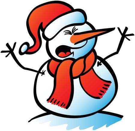 Belada Noel kardan adam kollarını yüksek sesle bağırarak ve yükselerek dikkatini çekmeye çalışıyor