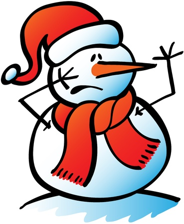 Funny Christmas snowman wearing Santa hat and red scarf while trying to get attention by rising an arm and showing how worried he feels Illustration