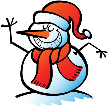 rising an arm: Nice Christmas snowman wearing Santa hat and red scarf while greeting and grinning proudly Illustration