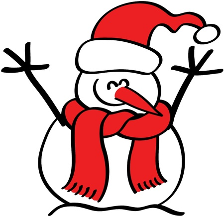 excitation: Nice snowman with a carrot as nose and wearing red hat and scarf while rising his arms and smiling to celebrate Christmas Illustration