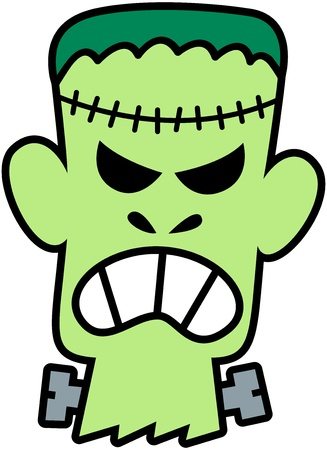 Scary and angry green Frankenstein with seams in his head and screws in his neck while showing his teeth in a very aggressive and threatening mood