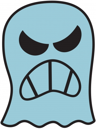disturbing: Terrific blue ghost showing its big teeth while expressing anger Illustration