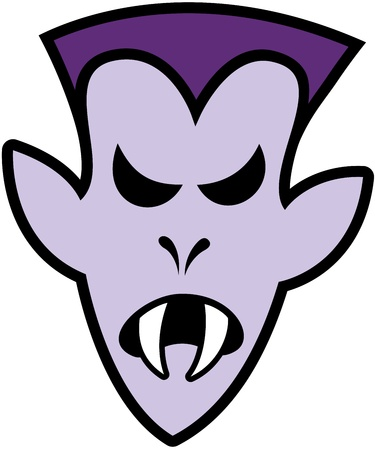 terrific: Terrific purple vampire with elegant hairstyle and sharpen fangs while expressing anger