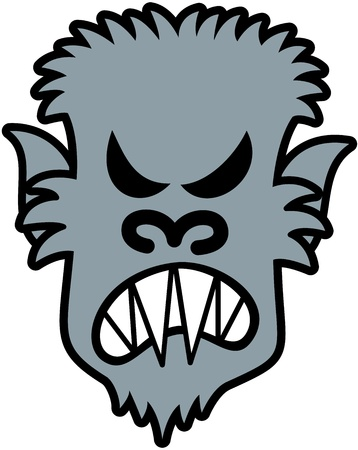 Scary werewolf with sharpen teeth, pointy ears and messy furry while showing how he is furious