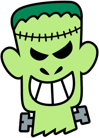 Frightening green Frankenstein, with seams in his front and screws in his neck, showing his teeth while smiling maliciously