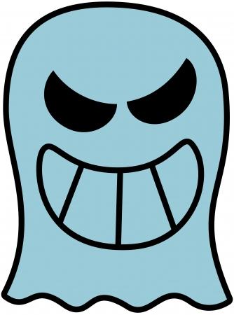 disturbing: Disturbing blue ghost showing its big teeth while smiling maliciously
