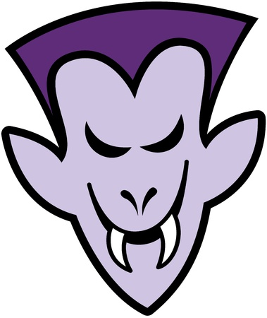 disturbing: Terrific purple vampire with elegant hairstyle, pointy ears and sharpen fangs while smiling mischievously