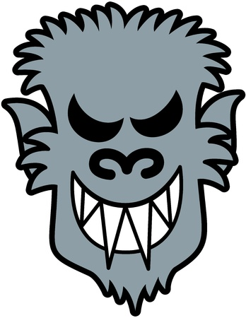 Scary werewolf face with sharpen teeth, pointy ears and messy furry while smiling maliciously Vector