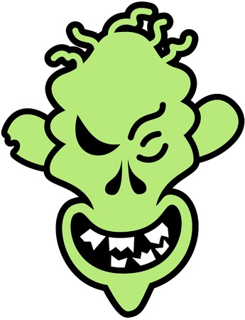 perverse: Scary green zombie with skinny face, hair as worms and broken teeth smiling maliciously Illustration
