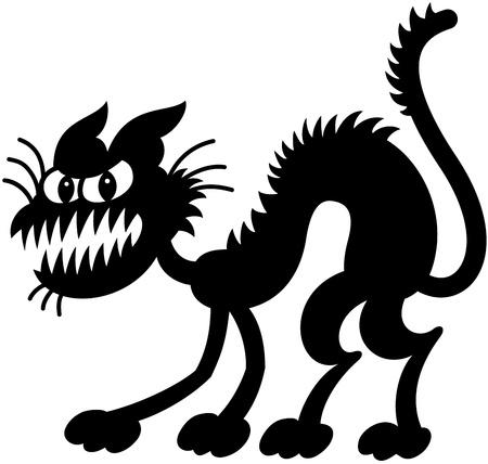 awkward: Siluetas del gato negro fantasmag�rico expresa lo mal y asustado a su estado de �nimo es por erizado, doblando su cuerpo, mostrando los dientes y mirando a usted Vectores