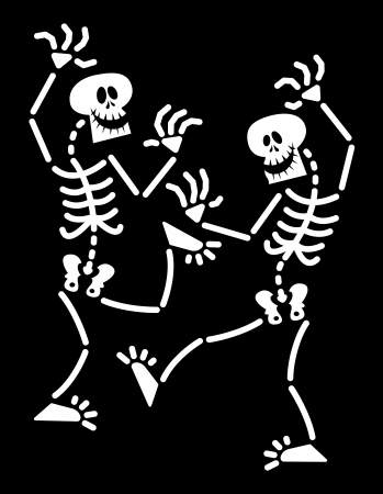 despite: Couple of skeletons having fun, laughing and dancing in a lively and animated way despite their lack of rhythm Illustration