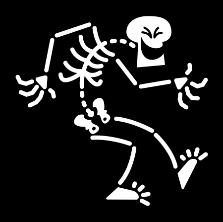 Skeleton Evil contracci�n y agach�ndose a su cuerpo mientras se divierten y riendo maliciosamente