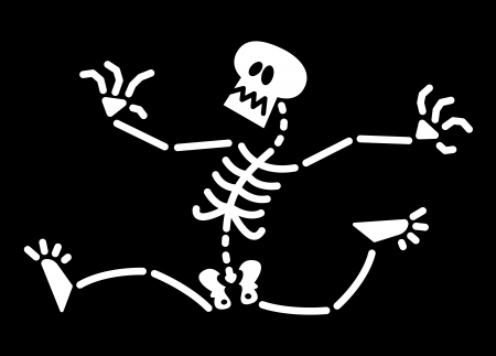 bony: Frightened skeleton stretching her arms and legs to run as fast as possible and fleeing in terror from some imminent and blood curdling danger Illustration