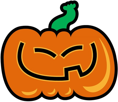 Carved orange pumpkin with slanted eyes while smiling generously and showing its single tooth Vector
