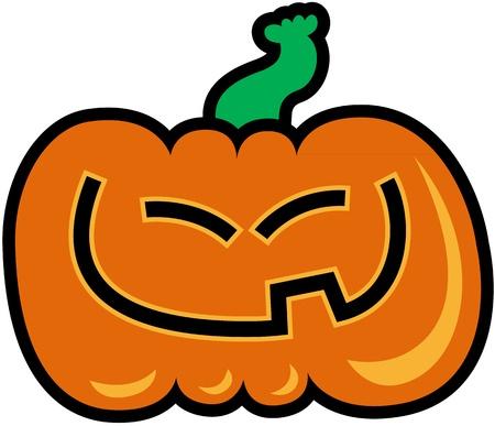 slanted: Tallado de calabaza de color naranja con los ojos rasgados, mientras sonre�a generosamente y mostrando su diente Vectores