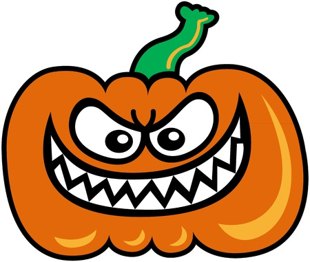 Evil orange pumpkin staring at you and showing his sharpen teeth in a very mischievous attitude Vector