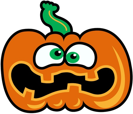 Green-eyed orange pumpkin showing a expression of fear and distress Vector